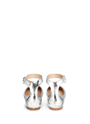 Back View - Click To Enlarge - Gianvito Rossi - Metallic leather ankle strap ballerina flats