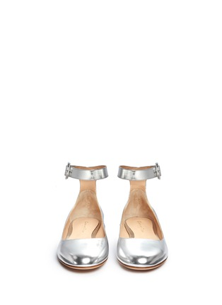 Front View - Click To Enlarge - Gianvito Rossi - Metallic leather ankle strap ballerina flats