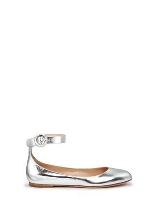 Main View - Click To Enlarge - Gianvito Rossi - Metallic leather ankle strap ballerina flats