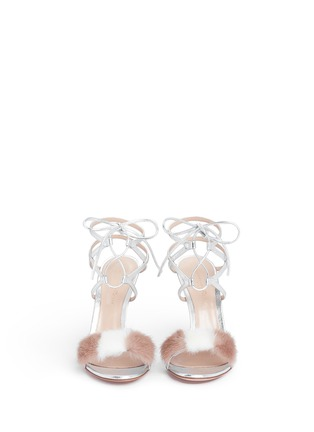 Front View - Click To Enlarge - Gianvito Rossi - 'Zelda' fur band leather sandals