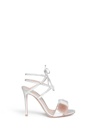 Main View - Click To Enlarge - Gianvito Rossi - 'Zelda' fur band leather sandals