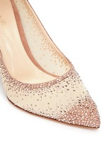 Suede trim strass pavé sheer mesh pumps