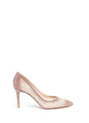 Main View - Click To Enlarge - Gianvito Rossi - Suede trim strass pavé sheer mesh pumps