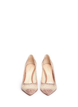 Figure View - Click To Enlarge - Gianvito Rossi - Suede trim strass pavé sheer mesh pumps