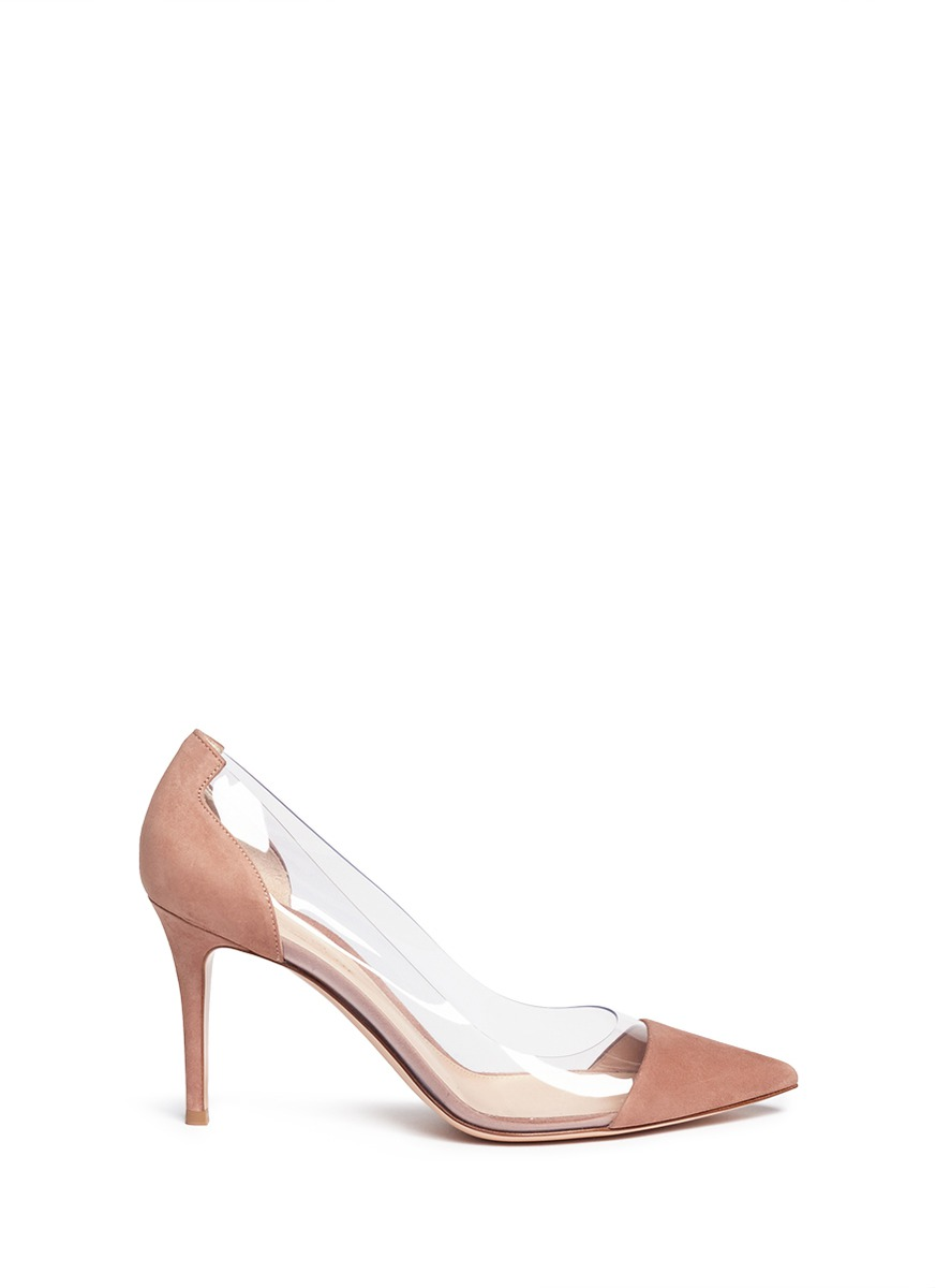 Plexi clear PVC suede pumps by Gianvito Rossi