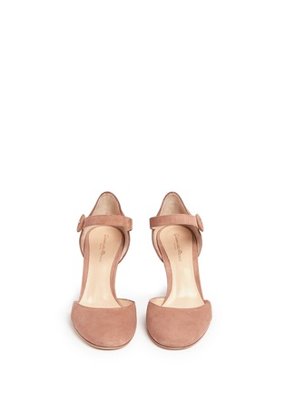 Front View - Click To Enlarge - Gianvito Rossi - 'Campral' chamois suede Mary Jane d'Orsay pumps