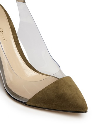 Detail View - Click To Enlarge - Gianvito Rossi - 'Anise Mid' clear PVC suede slingback ankle pumps