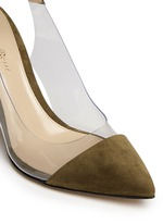 'Anise Mid' clear PVC suede slingback ankle pumps