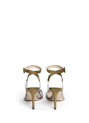 Back View - Click To Enlarge - Gianvito Rossi - 'Anise Mid' clear PVC suede slingback ankle pumps