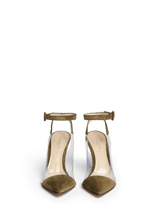 Front View - Click To Enlarge - Gianvito Rossi - 'Anise Mid' clear PVC suede slingback ankle pumps