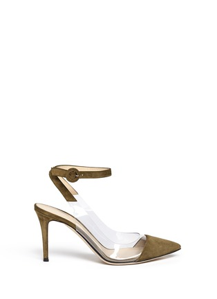 Main View - Click To Enlarge - Gianvito Rossi - 'Anise Mid' clear PVC suede slingback ankle pumps
