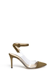 Gianvito Rossi'Anise Mid' clear PVC suede slingback ankle pumps