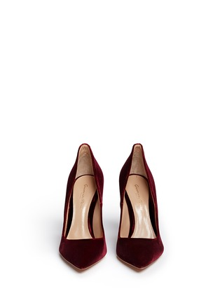 Front View - Click To Enlarge - Gianvito Rossi - 'Ellipsis' velvet pumps