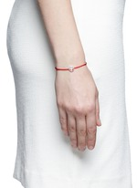 'Happy' sterling silver charm cord bracelet