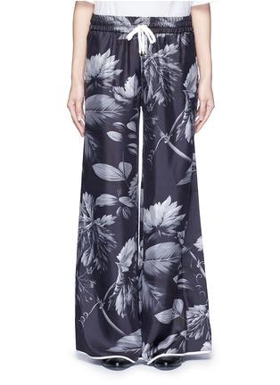 F.R.S For Restless Sleepers-'Callisto' greyscale leaf print silk pyjama pants