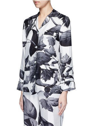 Front View - Click To Enlarge - F.R.S For Restless Sleepers - 'Rea' greyscale leaf print silk pyjama shirt