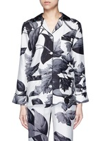'Rea' greyscale leaf print silk pyjama shirt