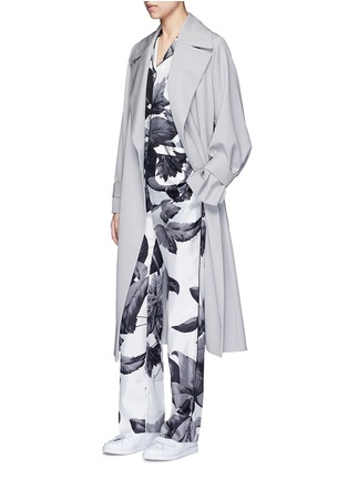 Figure View - Click To Enlarge - F.R.S For Restless Sleepers - 'Rea' greyscale leaf print silk pyjama shirt