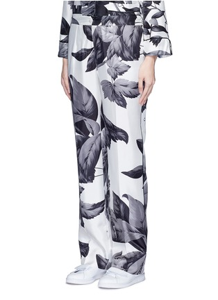 Front View - Click To Enlarge - F.R.S For Restless Sleepers - 'Crono' greyscale leaf print silk pyjama pants