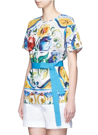 Front View - Click To Enlarge - Dolce & Gabbana - Grosgrain waist maiolica print poplin top