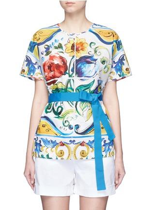 Main View - Click To Enlarge - Dolce & Gabbana - Grosgrain waist maiolica print poplin top