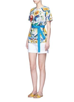 Figure View - Click To Enlarge - Dolce & Gabbana - Grosgrain waist maiolica print poplin top