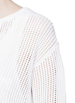 'Limtally B' drawstring V-neck open knit top