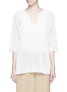 Theory'Limtally B' drawstring V-neck open knit top