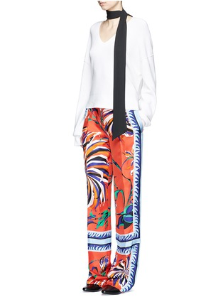 Figure View - Click To Enlarge - Emilio Pucci - Cactus flower print silk pyjama pants