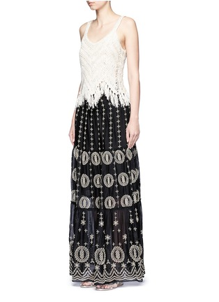 Figure View - Click To Enlarge - alice + olivia - 'Lysa' eyelet embroidered convertible maxi skirt