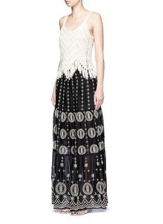 ALICE + OLIVIA'Lysa' eyelet embroidered convertible maxi skirt