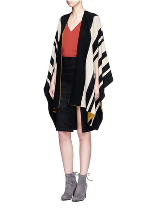 Figure View - Click To Enlarge - alice + olivia - 'Minka' oversize stripe wool poncho