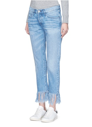 Front View - Click To Enlarge - 3x1 - 'WM3' fringe cuff cropped jeans