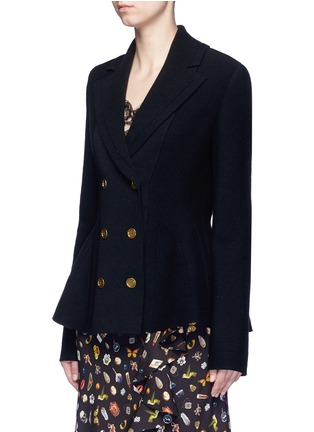 Front View - Click To Enlarge - Alexander McQueen - Wool-cashmere blend knit peplum jacket