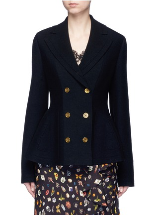 Main View - Click To Enlarge - Alexander McQueen - Wool-cashmere blend knit peplum jacket