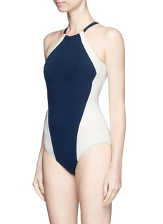 Flagpole Swim 'Nola' open back colourblock halterneck swimsuit