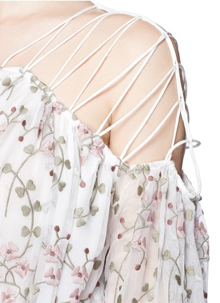 Detail View - Click To Enlarge - Zimmermann - 'Eden' floral embroidery silk georgette midi dress