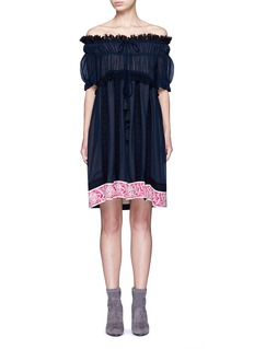 CHLOÉ Embroidered ruffle crinkled cotton-silk off-shoulder dress