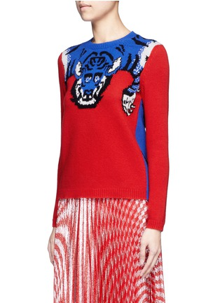 Front View - Click To Enlarge - Gucci - Tiger intarsia wool sweater