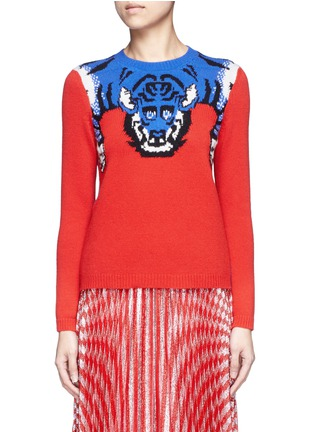 Main View - Click To Enlarge - Gucci - Tiger intarsia wool sweater