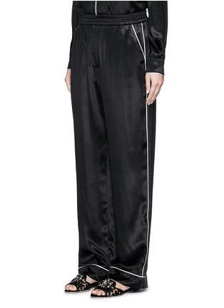 Front View - Click To Enlarge - Dolce & Gabbana - Contrast piping silk satin pyjama pants