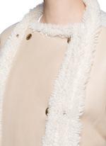 Jersey sleeve shearling jacket