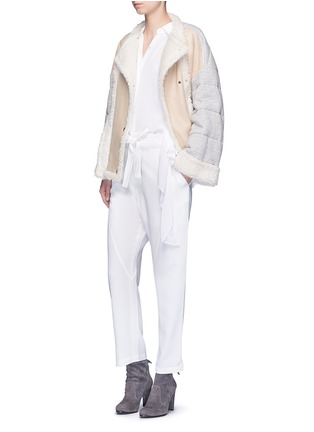 Figure View - Click To Enlarge - Chloé - Jersey sleeve shearling jacket