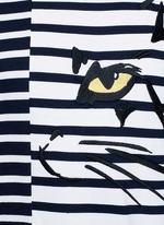 Cat embroidery stripe cotton sweatshirt