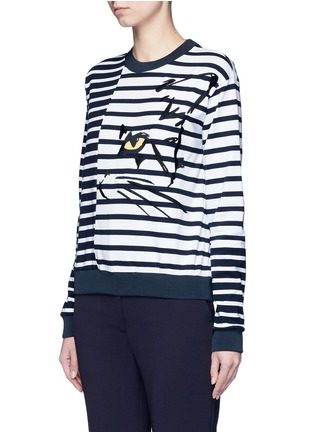 Front View - Click To Enlarge - Stella McCartney - Cat embroidery stripe cotton sweatshirt