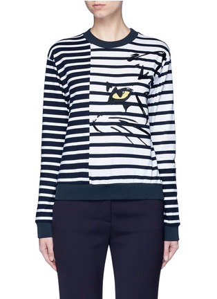 Main View - Click To Enlarge - Stella McCartney - Cat embroidery stripe cotton sweatshirt