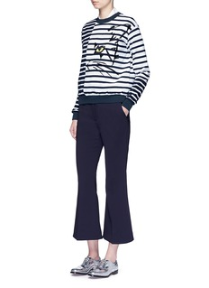 Stella McCartney Cat embroidery stripe cotton sweatshirt