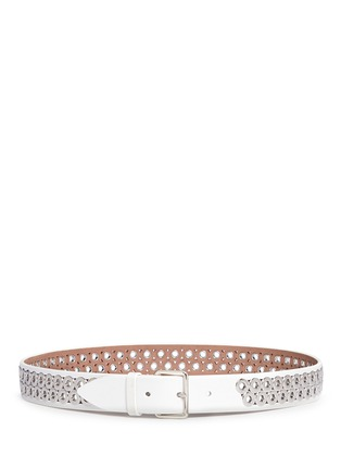 Main View - Click To Enlarge - Alaïa - Inset eyelet leather belt