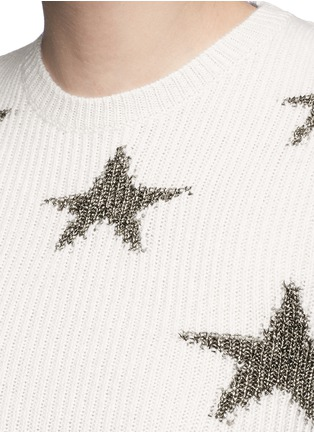 Detail View - Click To Enlarge - Valentino - Metallic star intarsia cashmere sweater