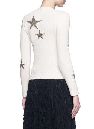 Back View - Click To Enlarge - Valentino - Metallic star intarsia cashmere sweater